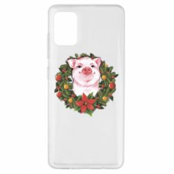 Чохол для Samsung A51 Pig with a Christmas wreath