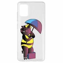 Чохол для Samsung A51 Pig with umbrella