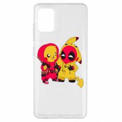 Чехол для Samsung A51 Pikachu and deadpool