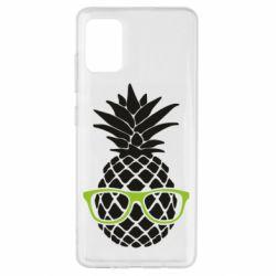 Чехол для Samsung A51 Pineapple with glasses
