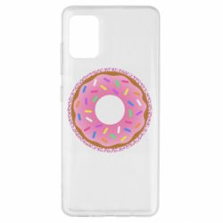 Чохол для Samsung A51 Pink donut on a background of patterns