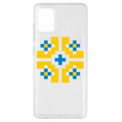 Чехол для Samsung A51 Pixel pattern blue and yellow