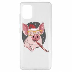 Чохол для Samsung A51 Portrait of the pink Pig in a red Santa's cap