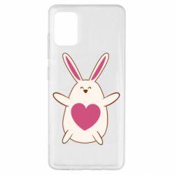 Чехол для Samsung A51 Rabbit with a pink heart