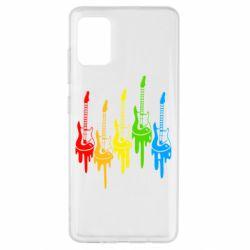 Чехол для Samsung A51 Разноцветные гитары