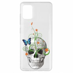 Чехол для Samsung A51 Skull and green flower
