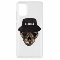 Чехол для Samsung A51 Skull in hat and text