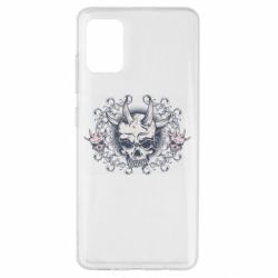 Чохол для Samsung A51 Skull with horns and patterns