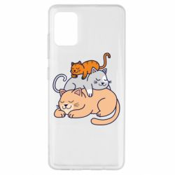 Чехол для Samsung A51 Sleeping cats