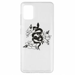 Чохол для Samsung A51 Snake with flowers