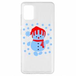 Чехол для Samsung A51 Снеговик в шапке