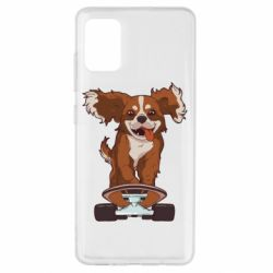 Чехол для Samsung A51 Собака Кавалер на Скейте