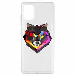 Чехол для Samsung A51 Сolorful wolf