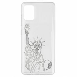 Чохол для Samsung A51 Statue of Liberty with a medical mask