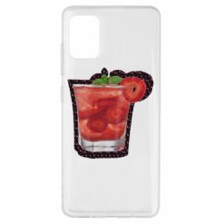 Чехол для Samsung A51 Strawberry cocktail on a background of flowers