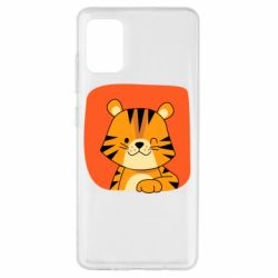 Чехол для Samsung A51 Striped tiger with smile
