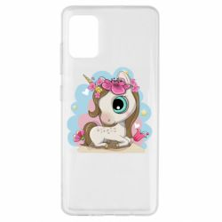 Чохол для Samsung A51 Unicorn with flowers