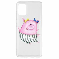 Чехол для Samsung A51 Watercolor Pig with paper texture