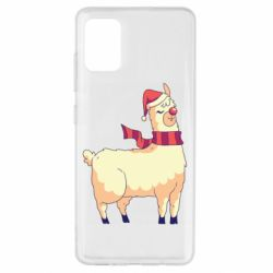 Чехол для Samsung A51 Yellow llama in a scarf and red nose
