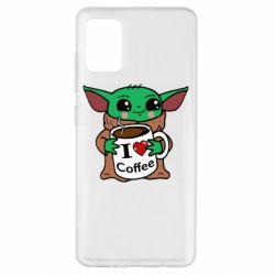 Чехол для Samsung A51 Yoda and a mug with the inscription I love coffee