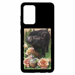 Чехол для Samsung A52 5G Black pig and flowers