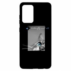 Чохол для Samsung A52 5G Butterfly and cat with blur effect