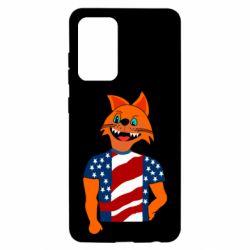 Чехол для Samsung A52 5G Cat in American Flag T-shirt