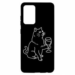 Чохол для Samsung A52 5G Cat with a glass of wine