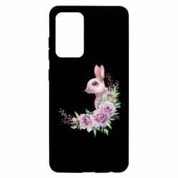 Чехол для Samsung A52 5G Hare in profile with flowers