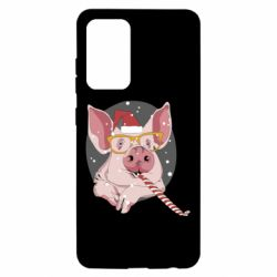 Чохол для Samsung A52 5G Portrait of the pink Pig in a red Santa's cap