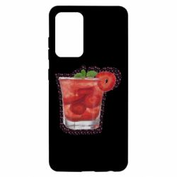 Чохол для Samsung A52 5G Strawberry cocktail on a background of flowers