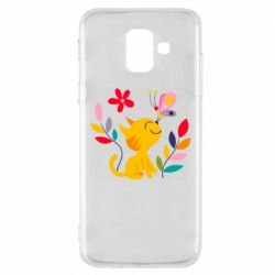 Чехол для Samsung A6 2018 Cat, Flowers and Butterfly