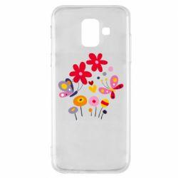 Чехол для Samsung A6 2018 Flowers and Butterflies