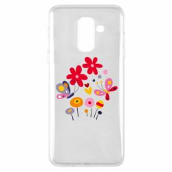 Чехол для Samsung A6+ 2018 Flowers and Butterflies
