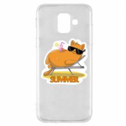 Чохол для Samsung A6 2018 Котик на пляжі