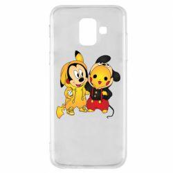 Чехол для Samsung A6 2018 Mickey and Pikachu