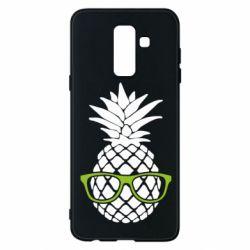 Чехол для Samsung A6+ 2018 Pineapple with glasses