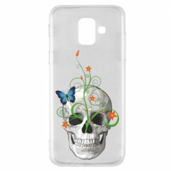 Чехол для Samsung A6 2018 Skull and green flower