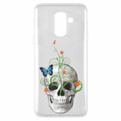 Чехол для Samsung A6+ 2018 Skull and green flower