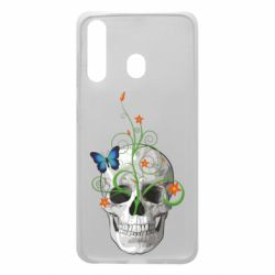 Чехол для Samsung A60 Skull and green flower