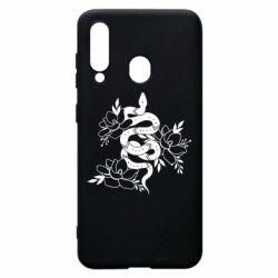 Чохол для Samsung A60 Snake with flowers