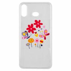 Чехол для Samsung A6s Flowers and Butterflies