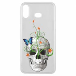Чехол для Samsung A6s Skull and green flower