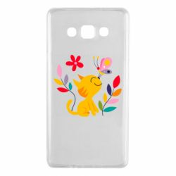 Чехол для Samsung A7 2015 Cat, Flowers and Butterfly