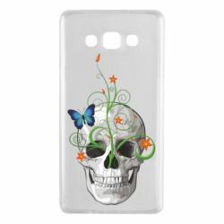 Чехол для Samsung A7 2015 Skull and green flower