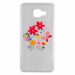Чехол для Samsung A7 2016 Flowers and Butterflies
