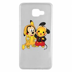 Чехол для Samsung A7 2016 Mickey and Pikachu