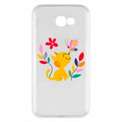 Чехол для Samsung A7 2017 Cat, Flowers and Butterfly