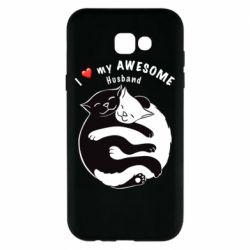 Чехол для Samsung A7 2017 Cats and love