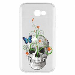 Чехол для Samsung A7 2017 Skull and green flower